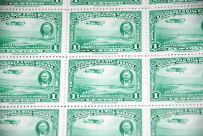 1939 MNH Nicaragua Sc C236 Will Rogers & View of Managua part sheet of 25 qq