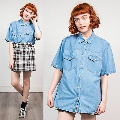 Vintage 90's Faded Blue Oversize Snap Fasten Denim Shirt Short Sleeve 18 20