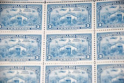 1939 MNH Nicaragua Sc C238 Will Rogers & Plane, Airport part sheet of 25 qq