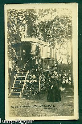 GYPSY FORTUNE TELLER AT THE DYKE BRIGHTON  vintage postcard