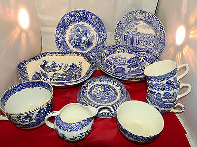 blue and white willow pattern collection (17pss)