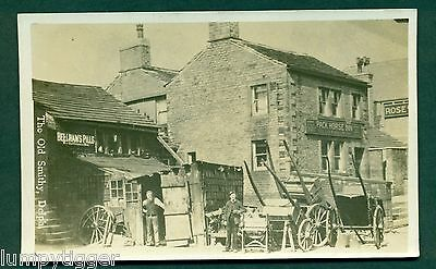 THE OLD SMITHY,DELPH WITH WAGONS & STAFF,PUB NEXT DOOR, vintage postcard
