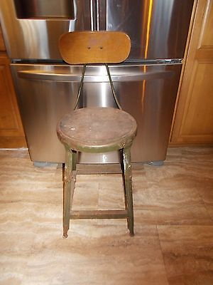 VINTAGE INDUSTRIAL  Stool Chair Metal & Wood STEAMPUNK DRAFTING  Pennsylvania