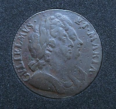 1694 William and Mary half penny coin