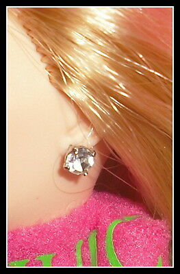 Jewelry Barbie Doll Model Muse Juicy Couture Faux Silver Diamond Earrings