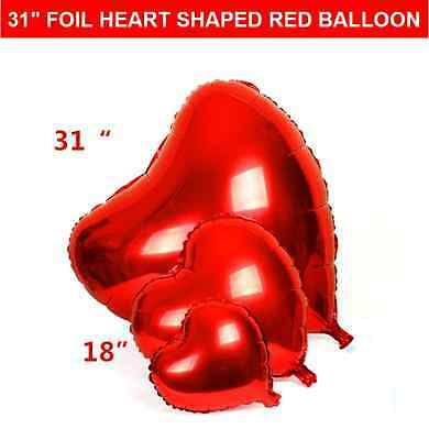 "31"" Jumbo Red Heart Shaped Foil Balloon Valentines/ Wedding Party Decor"