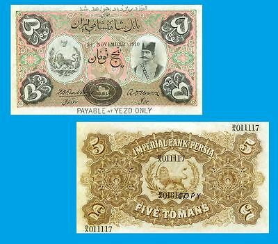 Persia- Imperial Bank of Persia. 5 Tomans 28.11.1910. UNC - Reproduction