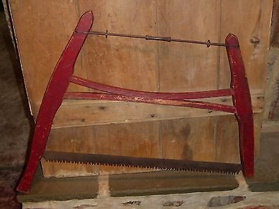 Antique Buck Bow Saw Barn Red Old Tool Rustic Primitive Country Cabin Decor