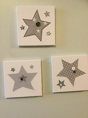 SET OF 3 HANDMADE GREY STARS CANVASES  nursery boy vintage children picture wall