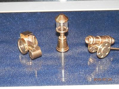 Vintage  Brass - Steam Engine - Old Time Cannon & Lamp Collectible Miniatures.