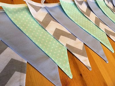 GREY BLUE MINT GREEN NURSERY HANDMADE FABRIC BUNTING new baby boy modern vintage