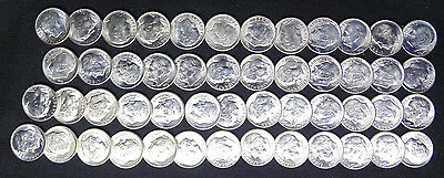 1954 S Roosevelt Dimes Gem Brilliant Uncirculated Bu Full Roll 50 Silver Coins