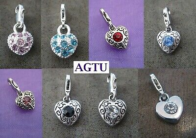 YOU PICK COLOUR Clip On Silver Heart with Crystals Charm Pink Blue Black Red