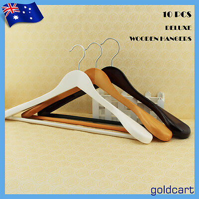 10PCS Broad Shoulder Wood Coat Hangers Timber Deluxe Suit Non Slip Tube 3 Colors