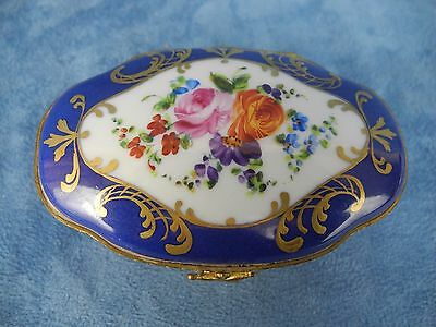 Antique Sevres Style French FINE Porcelain & Gilt Brass Box, Hand Painted