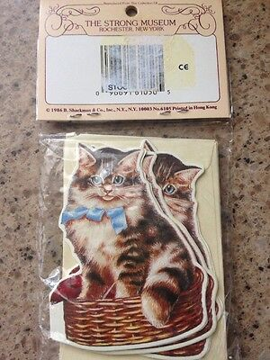 Vintage 1986 Cat Kitten Shackman Greeting Gift Tag Note Cards & Envelopes Set 6