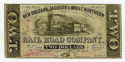 1861 $2 The New Orleans, Jackson & Great Northern Rail Road Co. - LOUISIANA Note