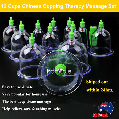 12 Cups Body Massage Set Health Care Chinese Medicine Therapy Vacuum Cup Suction