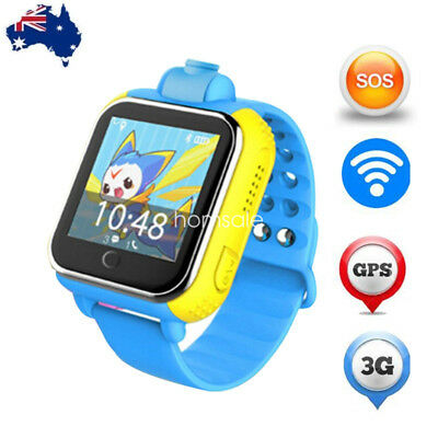 3G Children Smart Watch GPS Tracker SOS Phone Sport Set Kid for Android iOS BLUE