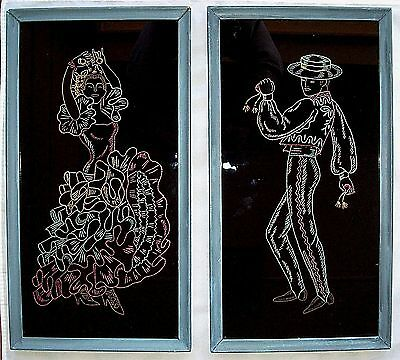 Set of 2 Handmade Folk Art Framed Needlework Velvet Pictures Spanish Dancers