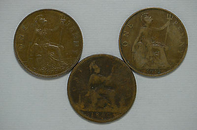 1860, 1918, 1924 Great Britain Large Penny 3 Piece Coin Lot (bb568)
