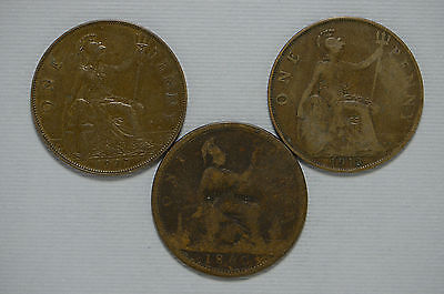 1860, 1918, 1927 Great Britain Large Penny 3 Piece Coin Lot (bb568)