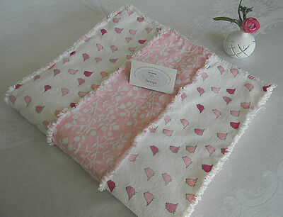REDUCED Handmade Pink and White Flannel Baby Rag Quilt, Delicate Birds & Flowers