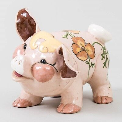 "Early Kay Finch Signed & Hand Painted Ceramic Pottery Pig with Poppies 8"" Long"