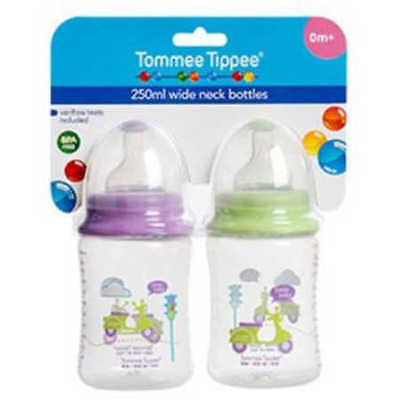 NEW Tommee Tippee Wide Neck Bottle 250ml - 2 Pack
