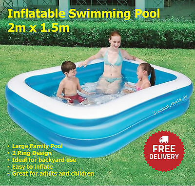 Bestway Inflatable Large Family Swimming Pool Rectangular Childrens Kid 2 x 1.5m