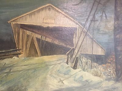 1955 Oil Painting Of Potters Covered Bridge In Noblesville, Indiana Local Artist