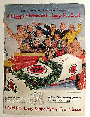 Collectible Lucky Strike Cigarettes 1950 Christmas Ad Life Jack Benny Radio Cast