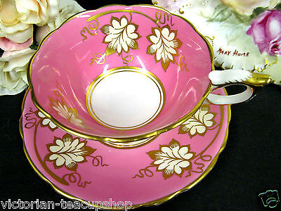 Royal Stafford  Tea Cup And Saucer Pink   & Gold Scrolls  Teacup Pattern