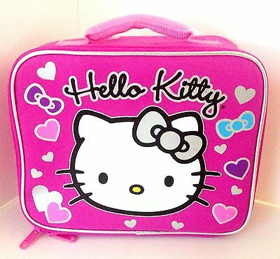 Pink Hello Kitty Insulated Lunch Box Bag with Hearts Bows Sanrio NWT