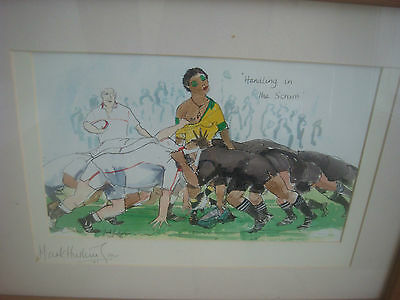 Signed Mark Huskinson Rugby Print - Handling In The Scrum