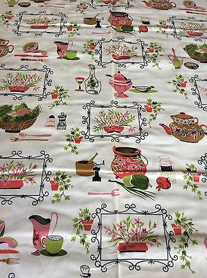 Vintage Cotton Curtain Slipcover Kitchen Theme Fabric 8 Yds Plus