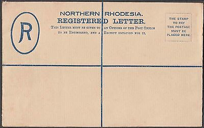NORTHERN RHODESIA 4d REGISTERED POSTAL STATIONERY WITH RARE SPECIMEN OVERPRINT