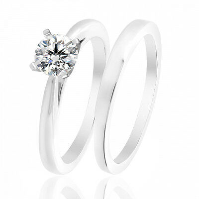1 Ct Diamond Solitaire Engagement Ring Wedding Bridal Set In 14k White Gold Over