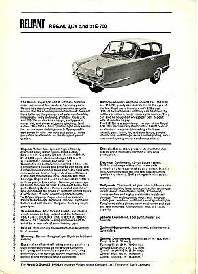 Vintage Reliant Regal 3/30 & 21E-700 Brochure Leaflet 1969? 28599