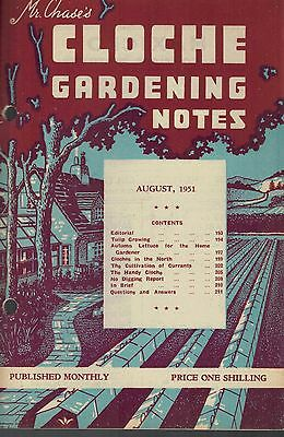 1951 AUGUST 36067  Mr Chase's CLOCHE GARDENING NOTES  TULUP GROWING