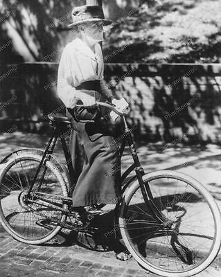 """Elderly Lady Riding Her Bicycle   8"""" - 10"""" B&W Photo Reprint"""
