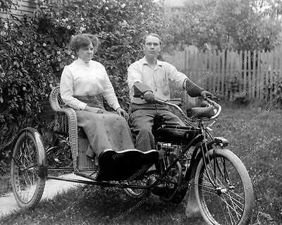 """Indian Motorcycle With Sidecar 1905   8"""" - 10"""" B&W Photo Reprint"""