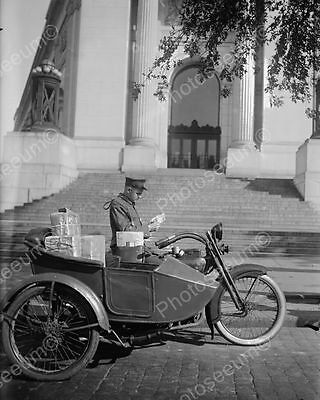 """Motorcycle Mail Delivery 1900s   8"""" - 10"""" B&W Photo Reprint"""