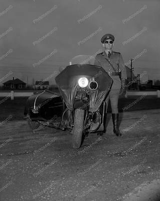 """Police Officer On Motorcycle 1940s   8"""" - 10"""" B&W Photo Reprint"""
