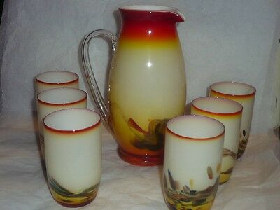 Vintage JUG & 6 Snowflakes art glass drinking glasses SUNSET COLOURS MCM retro