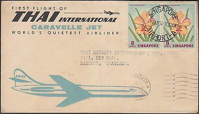 Singapore 1964 Thailand Airways Caravelle  Jet Flight Cover To Bangkok