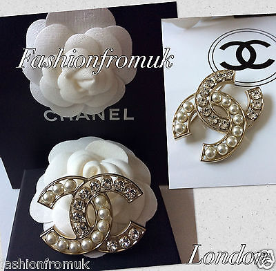 Chanel Classic Large Cc Pearl Crystal Pin Brooch