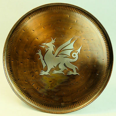 A Fine Hugh Wallis Arts & Crafts Copper & Pewter Dragon Inlay Wall Plate