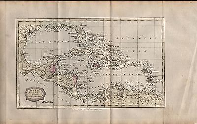 1806 Antique H/col Map - West Indies From The Best Authorities