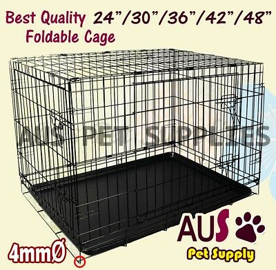 "24"" 30"" 36"" 42"" 48"" Pet Crate Dog Cat Puppy Rabbit Collapsible Cage Kennel"